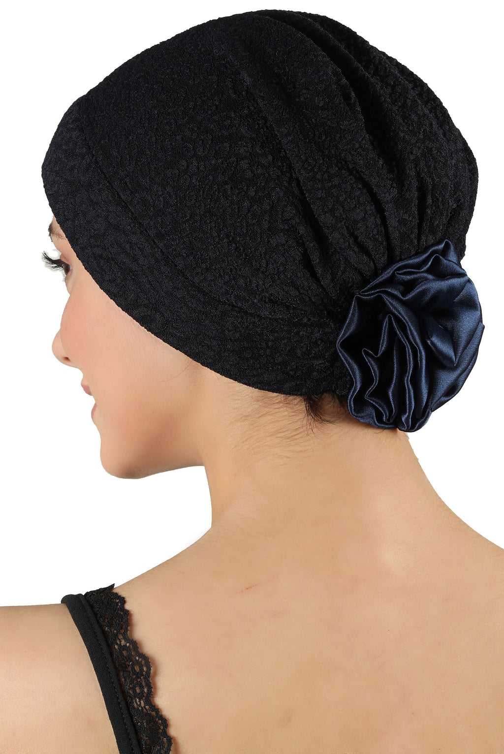 Brocade Headwear with Satin Rose - Padded Front Navy