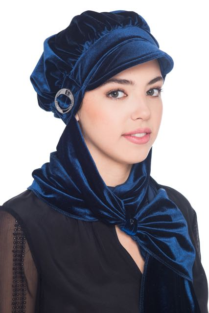 Velour Hat with Attached Scarf - Navy