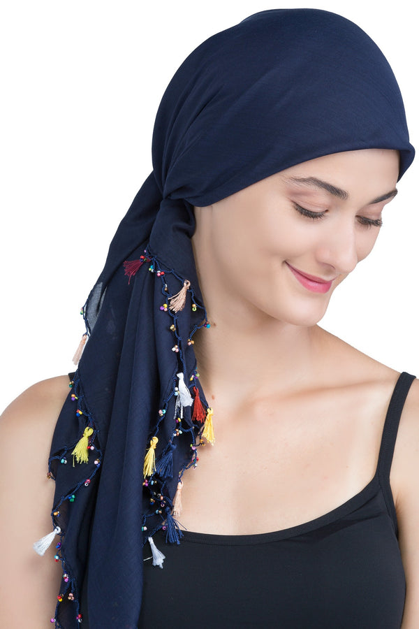 Beaded Square Head Scarf - Navy with Tassels