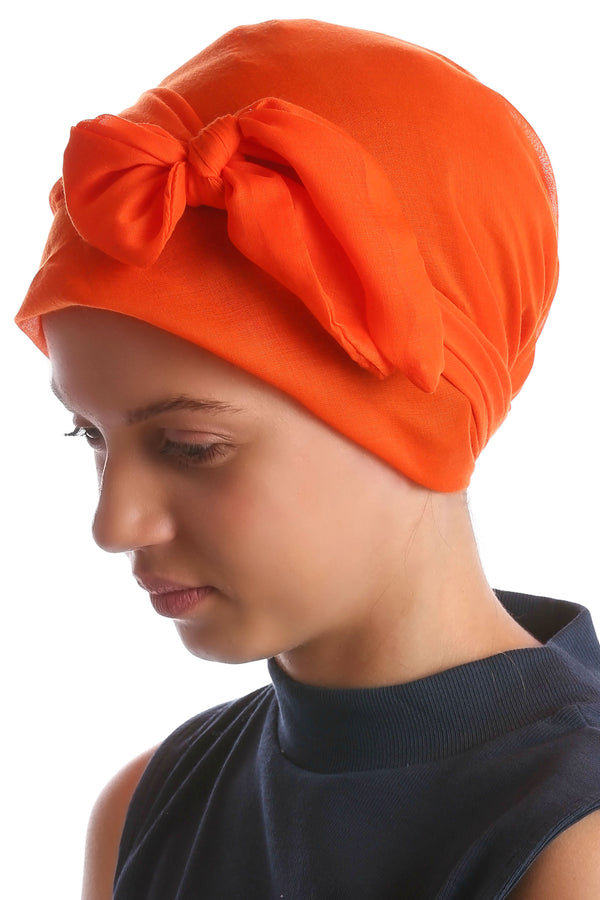 Easy Tie Head Scarf for Girls - Orange