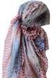 Everyday Square Head Scarf - Paleberry Indigo Dotted End