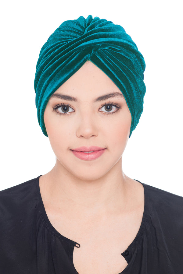 Velour  Cross Turban - Pine Green