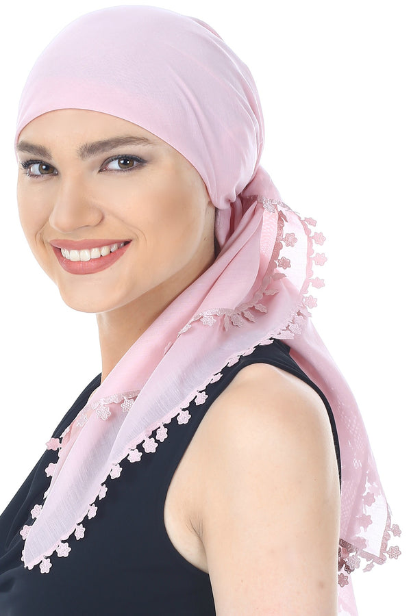 Flower Edges Soft Square Head Scarf  - Powder Pink