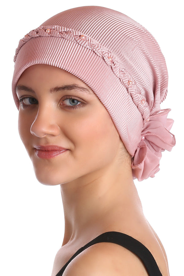 Deresina Braided beaded hat for hairloss for hairloss pink
