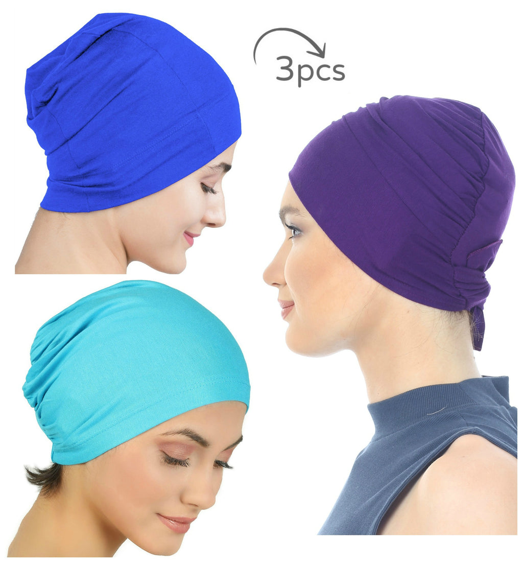 Essential Cotton Cap 3Pieces (Purple-Royal-Maya)