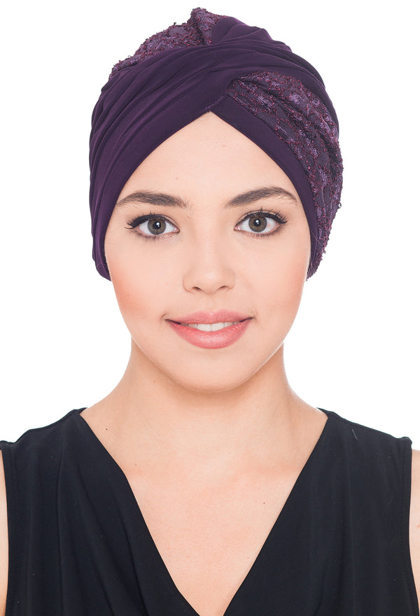 Lace Cross Turban - Purple