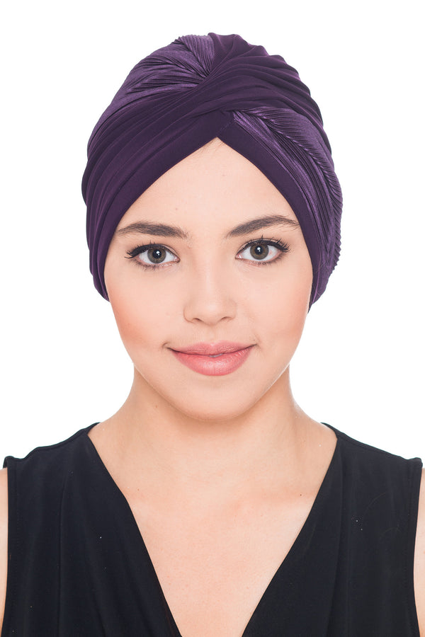 Plisse Cross Turban - Purple