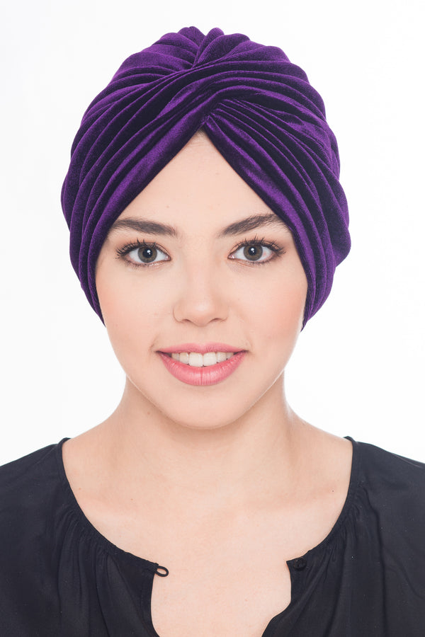 Velour  Cross Turban - Purple