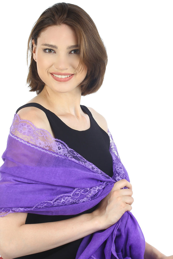 Pure Cotton Oversize Scarf with Lace Edges- Purple