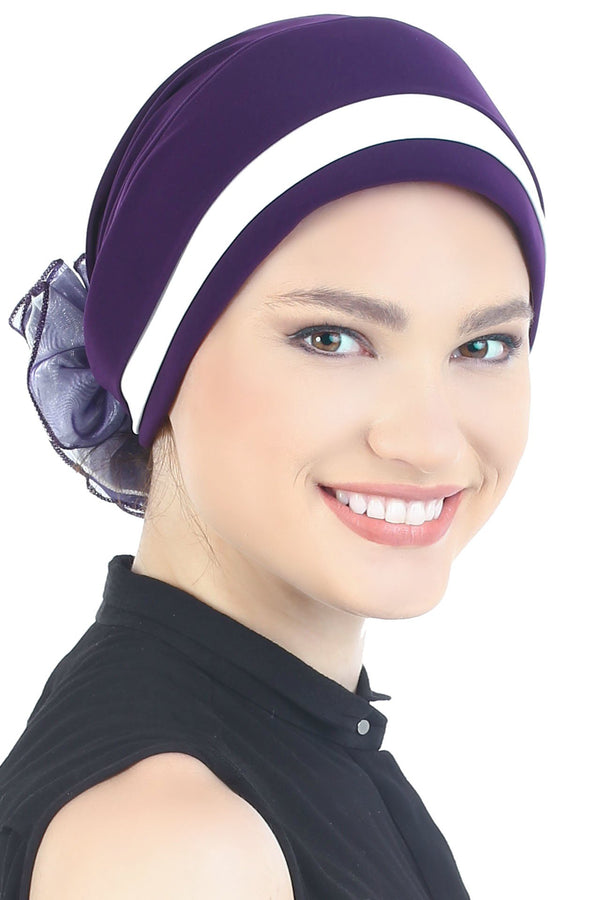 Deresina Padded hat for cancer patients purple cream