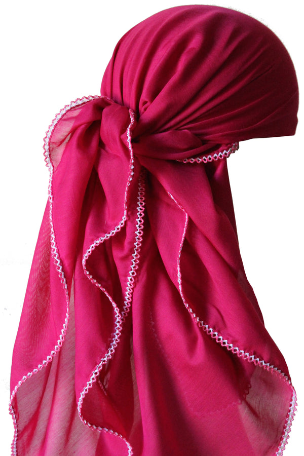 Crochet Edges Soft Head Scarf - Red Violet
