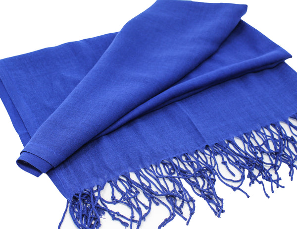 Solid Fringed Long Scarf - Royal Blue