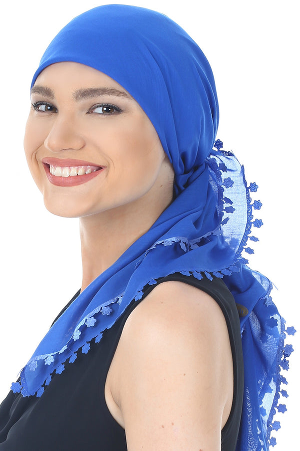 Flower Edges Soft Square Head Scarf  - Royal Blue