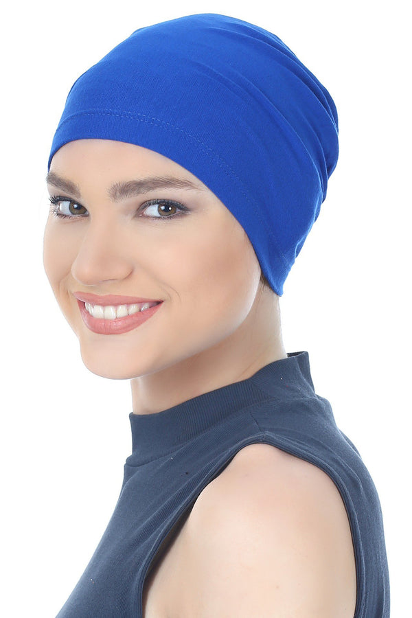 Deresina Essential cotton chemo cap royal blue