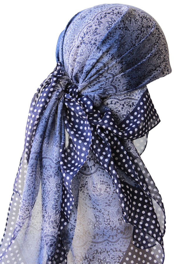 Everyday Square Head Scarf - Navy Cream Lace Pattern