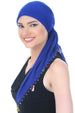Beaded Square Head Scarf - Royal with Ribbon Flowers