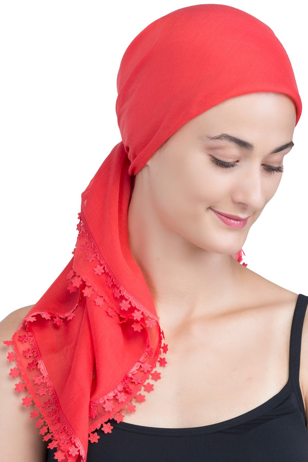 Flower Edges Soft Square Head Scarf  - Scarlet
