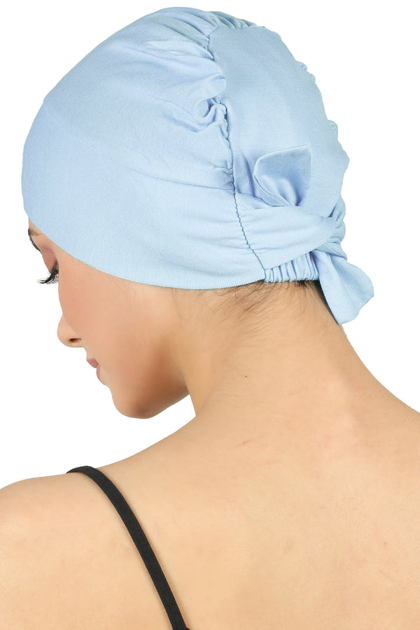 Double Layer Tie Back Cotton Cap - Baby Blue