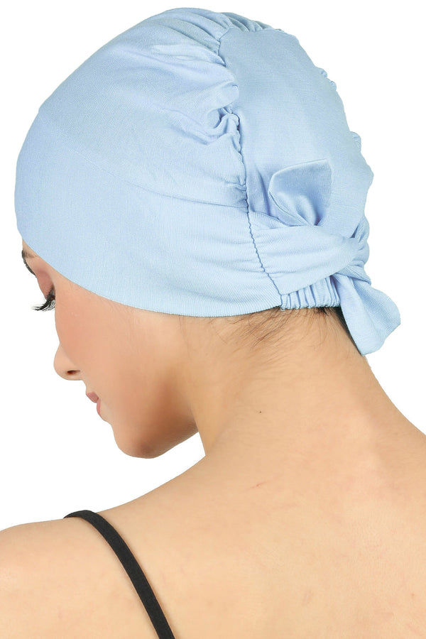 Double Layer Tie Back Cotton Cap-Baby Blue