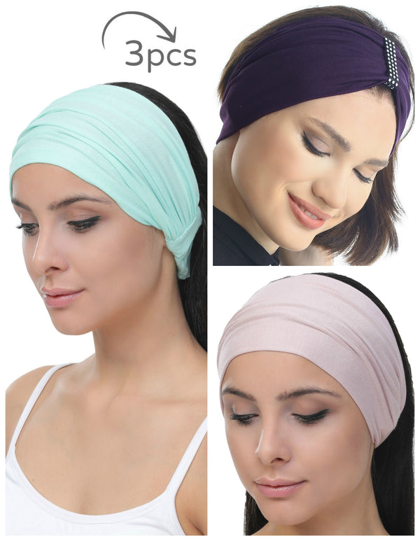 3 Pieces Headband -Spring-Mulberry-Powder