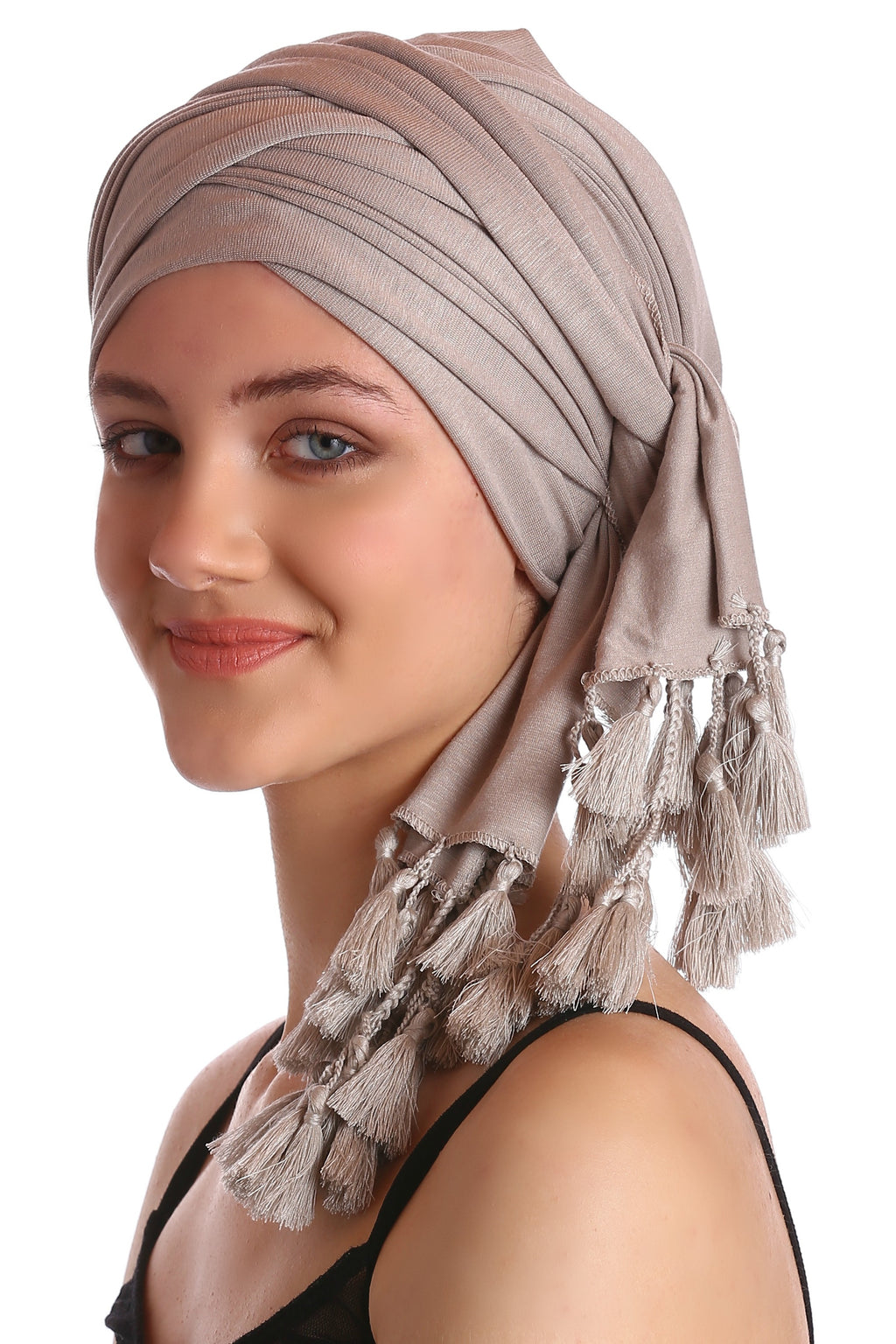 Cotton Headwrap -Taupe with Tassel