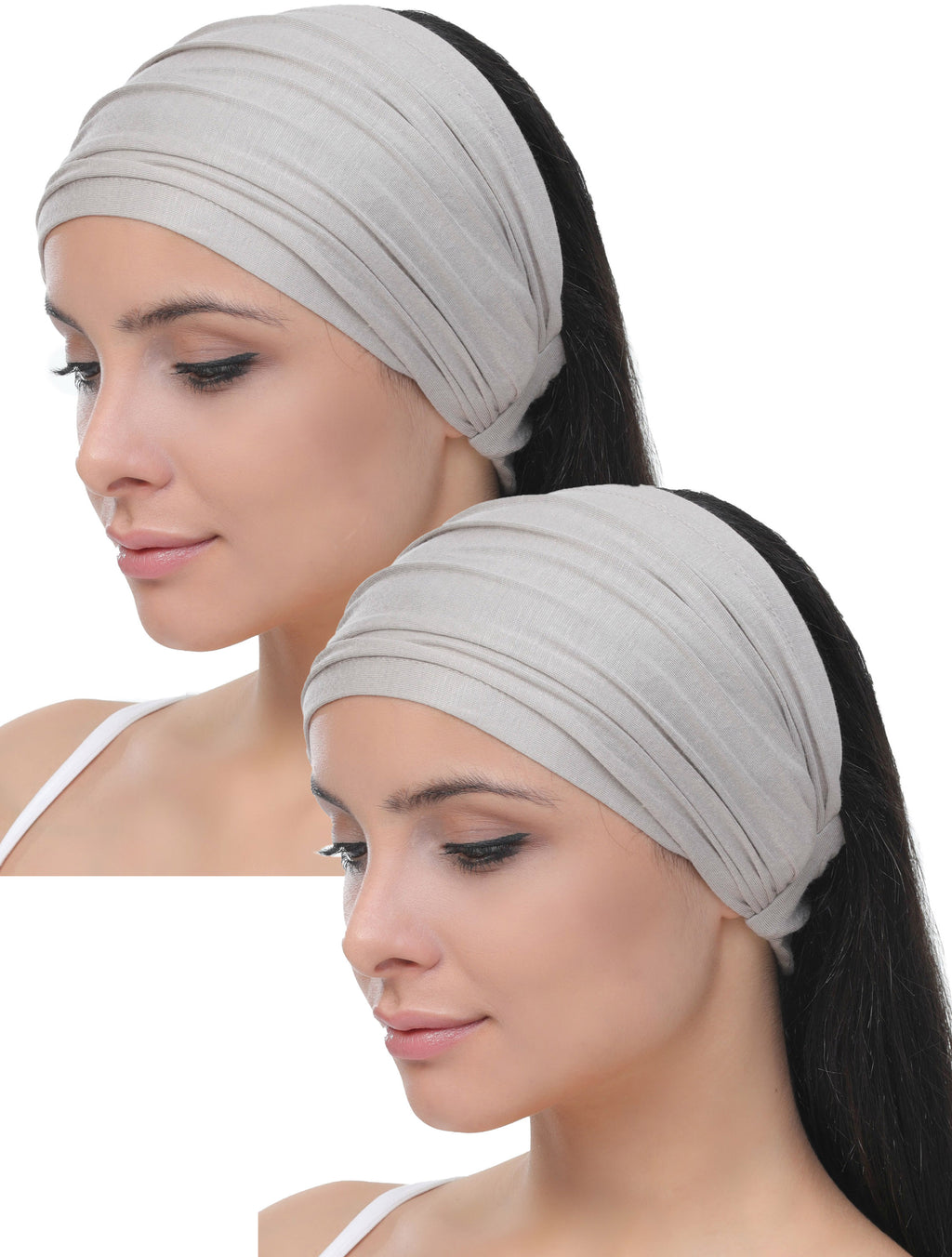 Elasticated Stretchy Headband Set of Two - Taupe