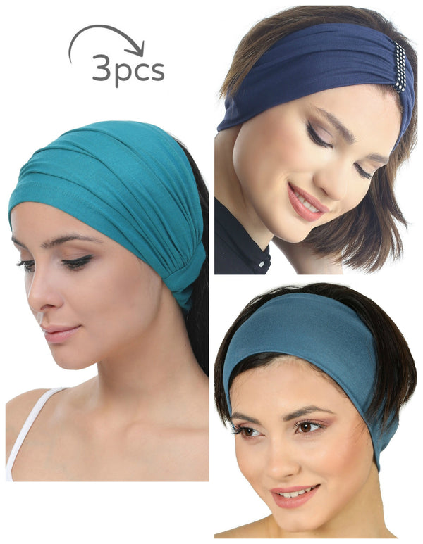 3 Pieces Headband -Teal-Denim-Carolina