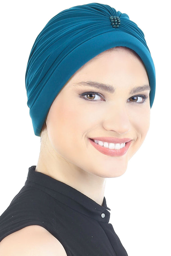 Deresina Pearl detail turban for cancer patients teal