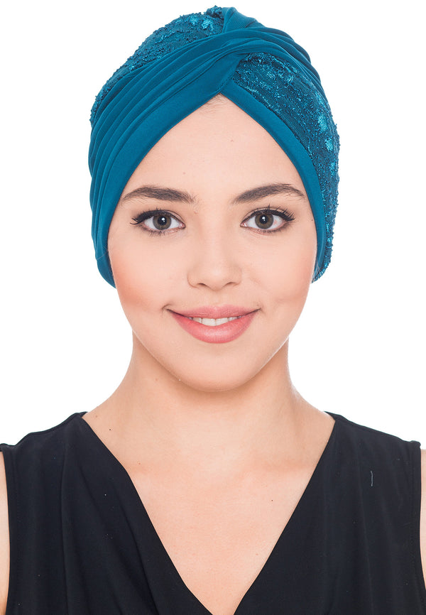 Lace Cross Turban - Teal