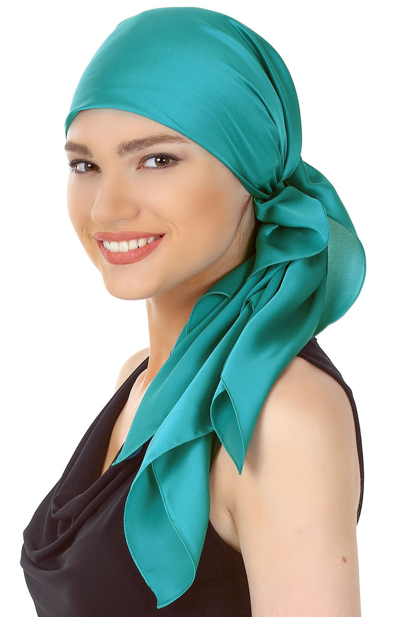 Crepe Satin Luxurious HeadScarf - Teal