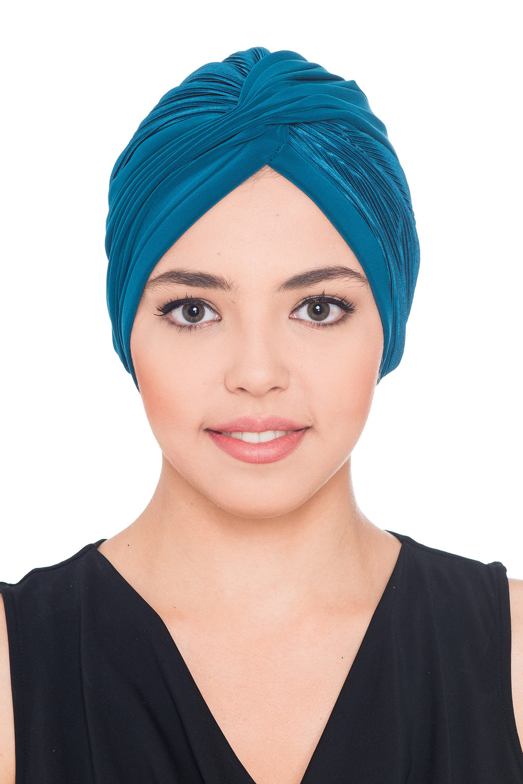 Plisse Cross Turban - Teal