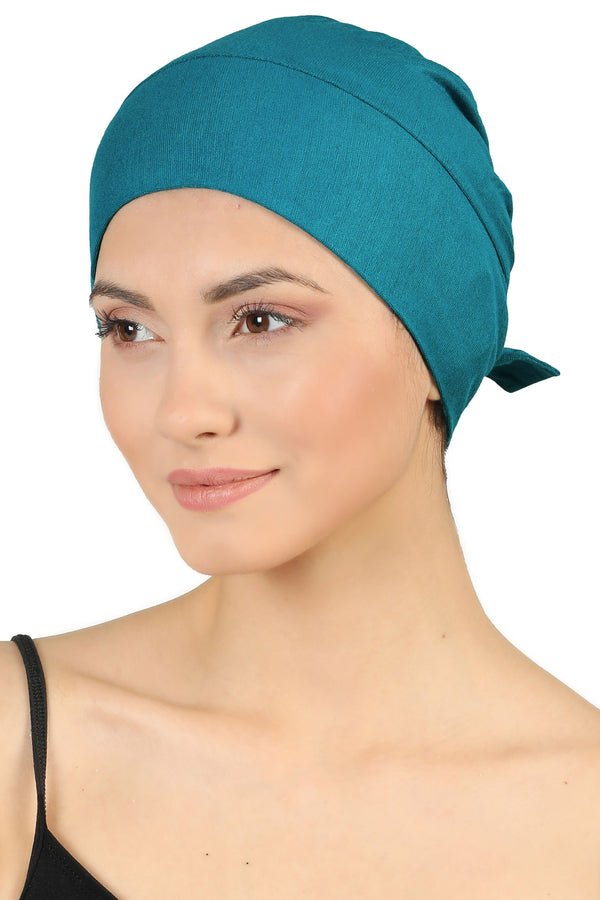 Double Layer Tie Back Cotton Cap - Teal