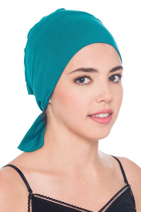 Deresina Comfort tie back cancer cap teal