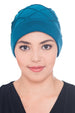 Diamond Patterned Hat with Georgette Flower - Teal
