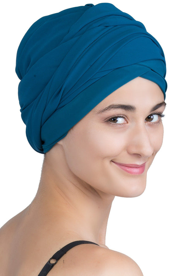 Chiffon Headwear with Long Schal -  Teal