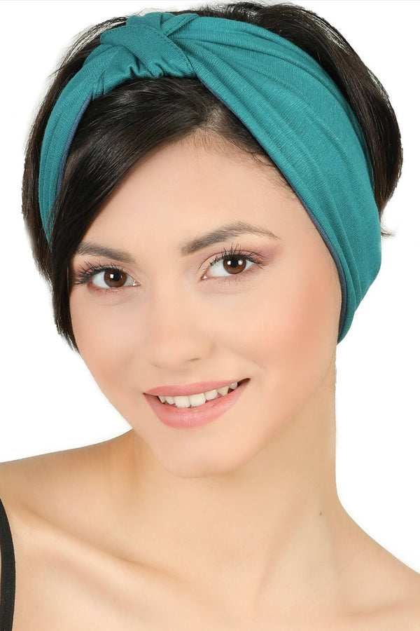 Reversible Headband-Teal/Carolina