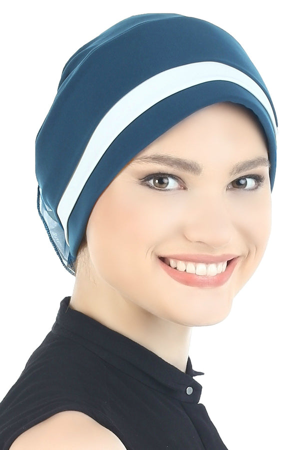 Deresina Padded hat for cancer patients teal cream