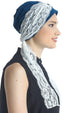 Deresina diamond patterned chemo turban teal cream