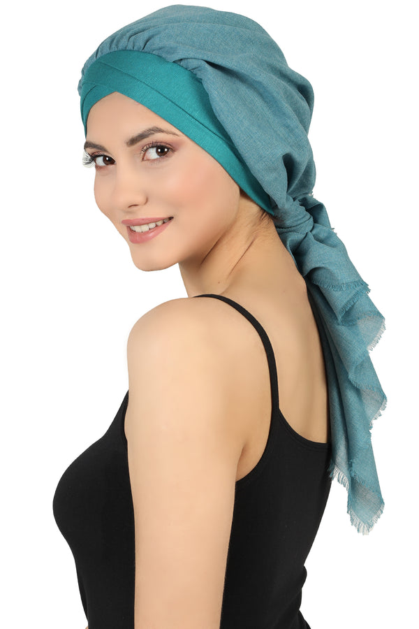 W Front Cap with Attached Scarf (Teal Plain)