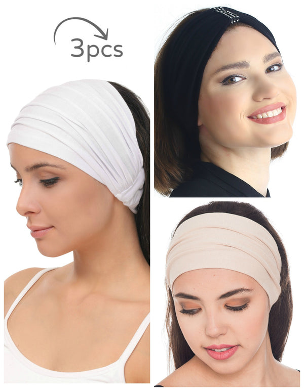 3 Pieces Headband -White-Black-Beige