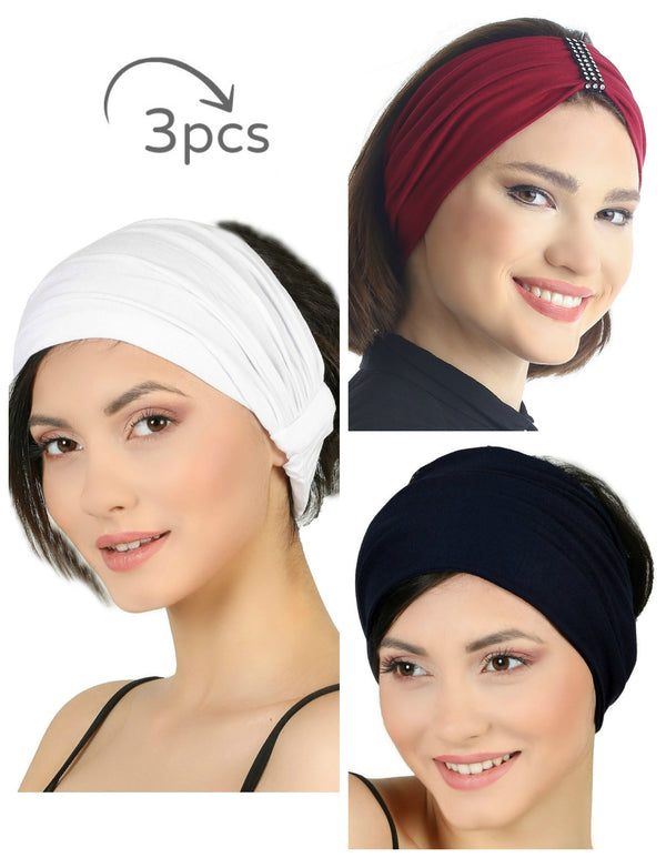 3 Pieces Headband -White-Burgundy-Black