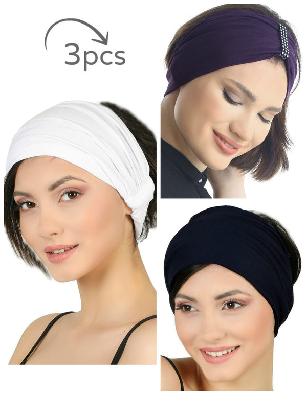 3 Pieces Headband -White-Mulberry-Black