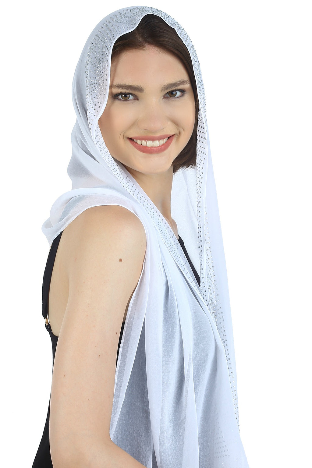 Jewelled Detail Georgette Chiffon Long Scarf-White