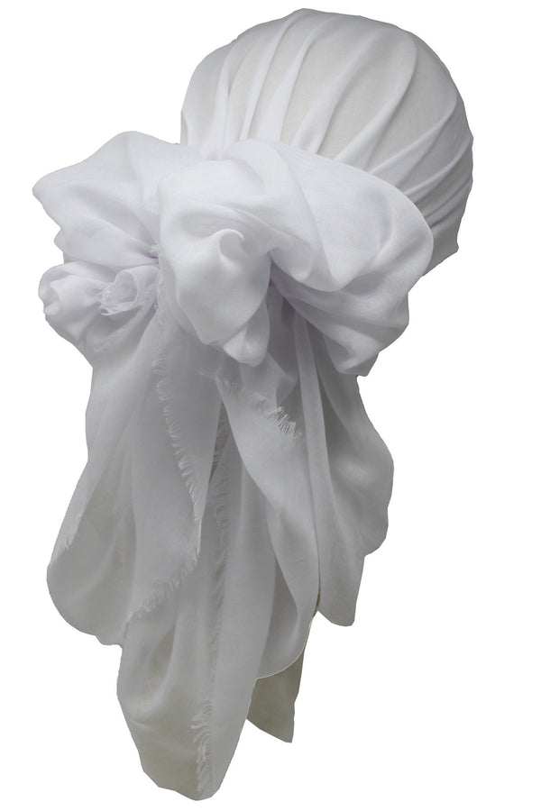 Ultra Soft Head Scarf -  White with Edges