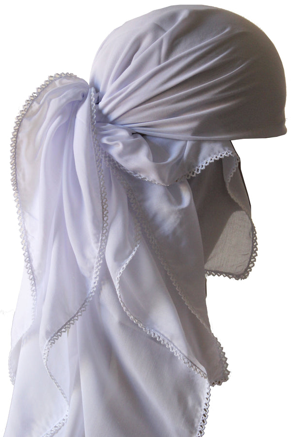 Crochet Edges Soft Head Scarf - White
