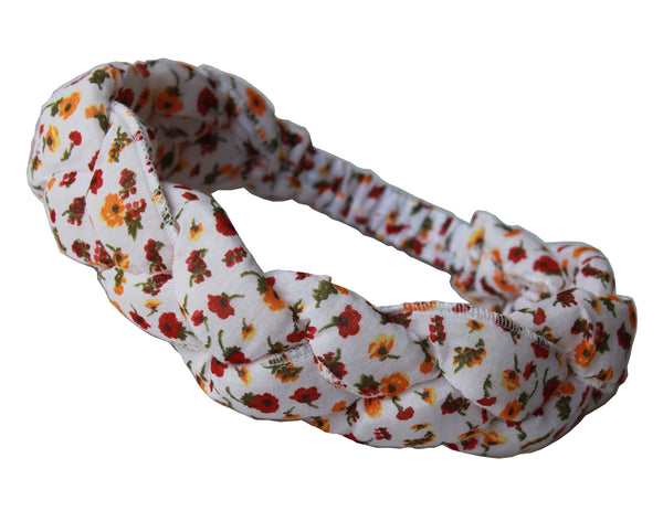 Girls Headband - White with flower