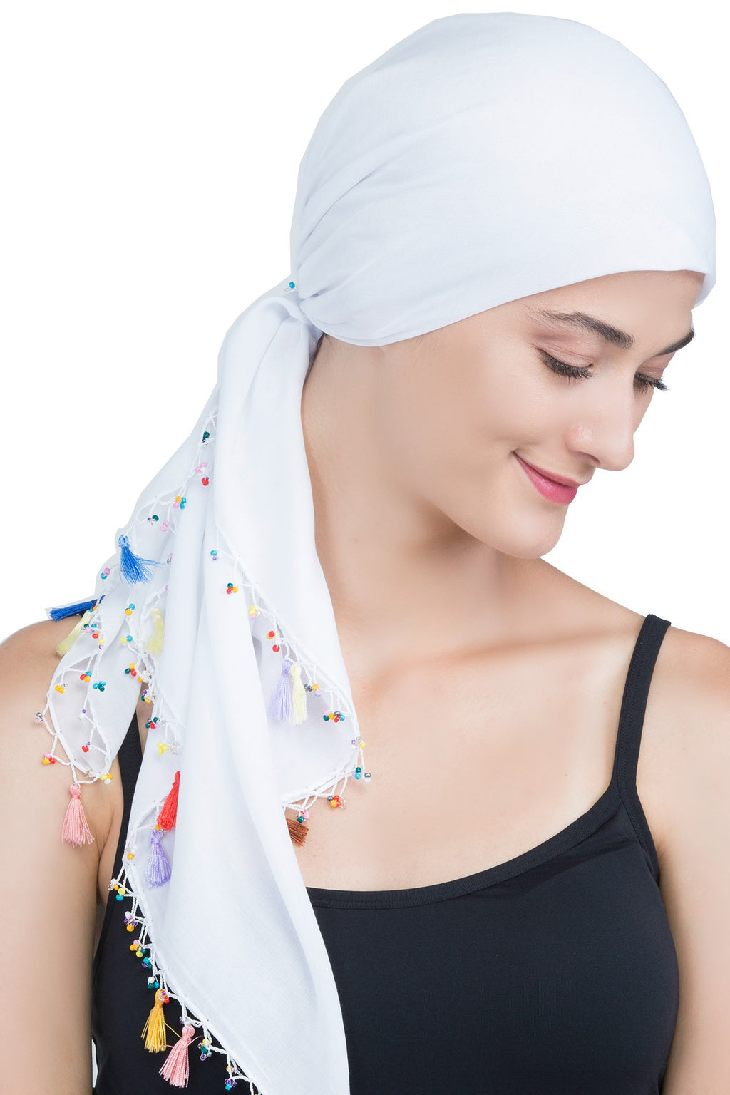 Beaded Square Head Scarf - White with Tassels