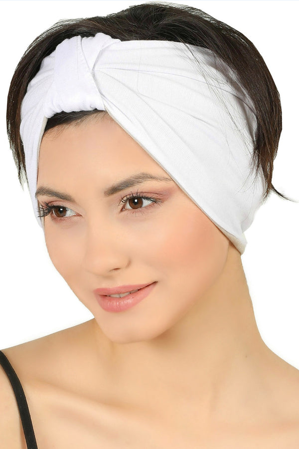 Reversible Headband-White/Taupe