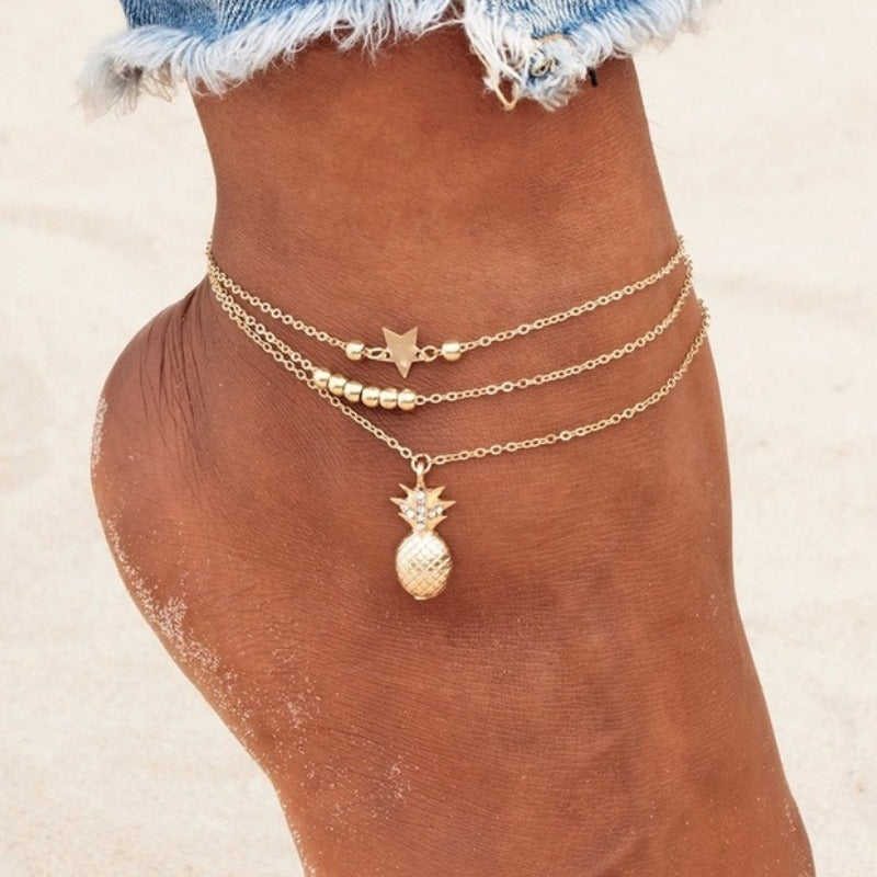Chain Pineapple Pendant Anklet Beaded - JEWELRY WEARS