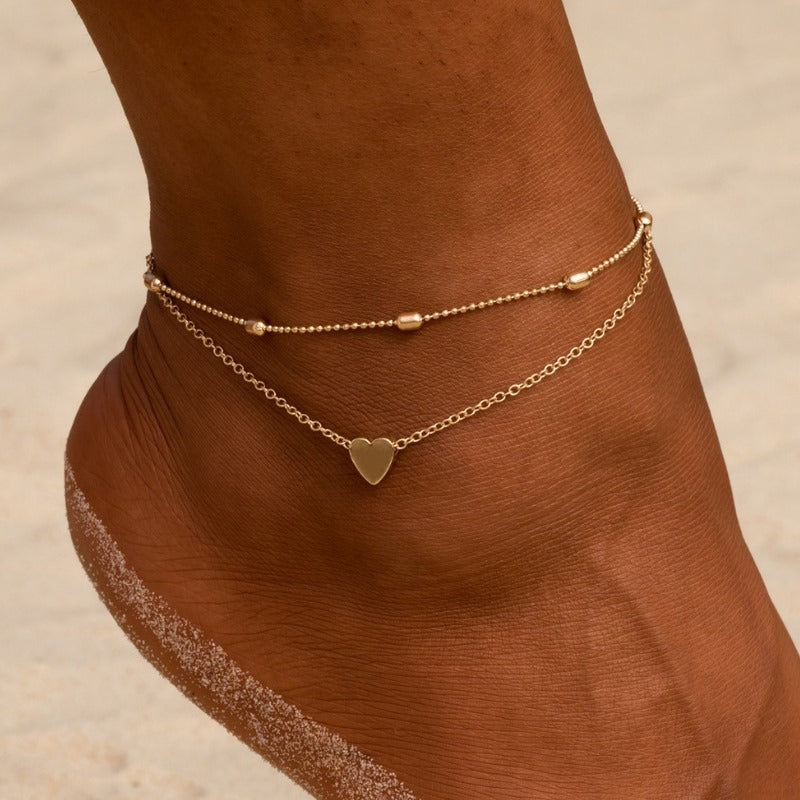 Simple Heart Anklets - JEWELRY WEARS